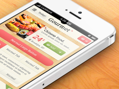 Download Gourmet iPhone App UI Kit Psd