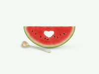 Heart melon&spoon