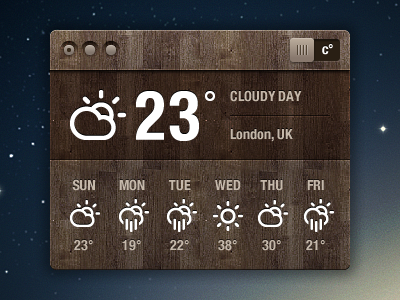 Wooden weather widget