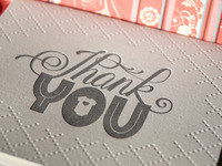 hand-drawn, letterpressed baby thank you cards