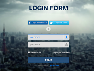 Download Login Form – PSD