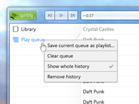 Spotify Redesign (Windows 7): Play queue