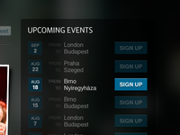 Upcoming Events widget with :hover treatment