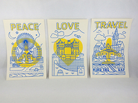 Peace Love Travel Screen Print