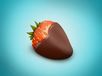 Strawberry in chocolate icon