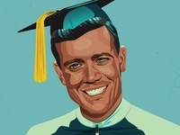 Retro Halftone Graduation Illustration