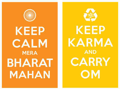 keep calm mera bharat mahan / keep karma and carry om
