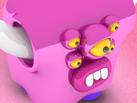 Pink Cubed Monster
