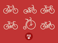 Bicycles icons PSD