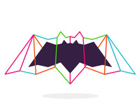alextass.com logo design symbol - bat in colors