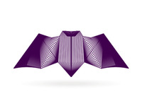 alextass.com logo design symbol - the blended bat