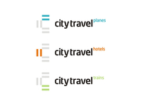 City Travel agency logo design sub-branding