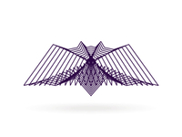 alextass.com logo design symbol - sound wave bat