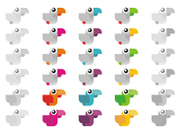 Witty Parrot logo design color variations for sub-branding