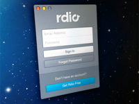 New Rdio sign in window