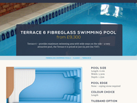 Product Page layout for swimming pool website