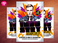Electro House Music PSD Flyer V3