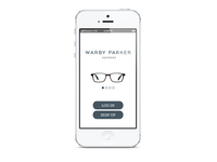 Warby Parker App - Start Up Screen