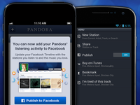 Publish Pandora music activity to Facebook