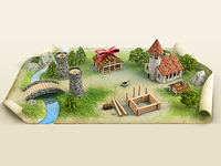 Little Town 3d Icon Illustration