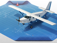 Plane blueprint Illustration 3d visualization infographic