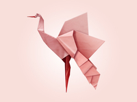 Light Pink Origami Bird