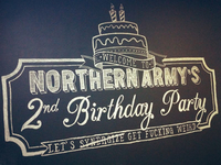 Northern Army's 2nd Birthday Party Chalkboard Illustration