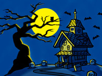 Haunted House & Spooky Tree Cartoon Illustration