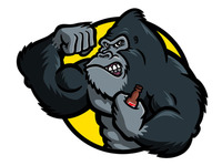 Gorilla Bodybuilder Cartoon Character — Vector Art