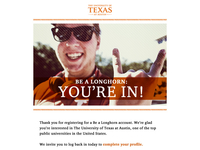 Email confirmation design for UT