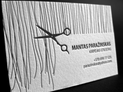 Simple Letterpress Business Card for Hair Stylist