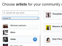 Choose artists for your community report