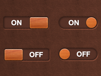 On/Off Buttons (leather and wood)