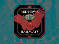 Red Hawk Railways baggage label