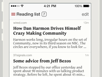 Readability iOS7 Redesign