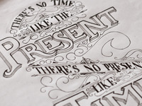 No time like the present - lettering sketch
