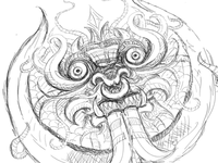 Dragon Face Illustrator Sketch