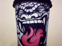 Monster Yawning (Coffee Cup Drawing)