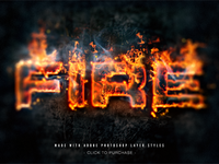 Fire text effect made with Layer Styles