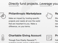 Pure Charity Features