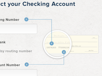 Connecting a new users bank account information