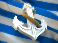 Anchor on Stripy Flag