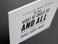 English patter. Letterpress card.