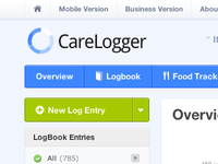 CareLogger Diabetes Logbook View