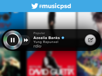 Twitter #Music player .psd