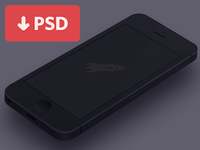Minimal iPhone 5 [Black] Template [PSD]