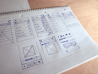Early app wireframes