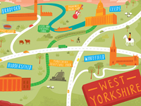Illustrated map of West Yorkshire