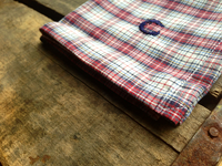 Red and Blue Plaid Cotton Pocket Square