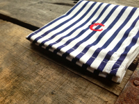 Navy and White Candy Striped Oxford Cotton Pocket Square